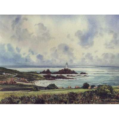 "John Freeman original watercolour of ""Corbiere, Jersey"""