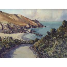 "John Freeman original watercolour of ""Greve de Lecq, Jersey"""