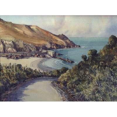 "John Freeman original watercolour of ""Greve de Lecq, Jersey"""