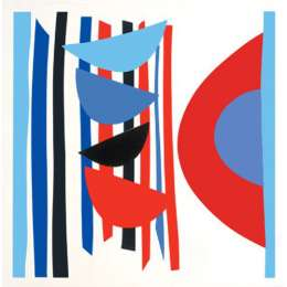 Sir Terry Frost screen print 'Blue Red Black Vertical Rhythm'