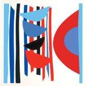 Sir Terry Frost screen print 'Blue Red Black Vertical Rhythm'