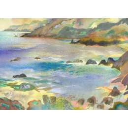 "Richard Plincke RI watercolour ""A Jersey Cliffscape"""
