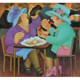 "Beryl Cook colour reproduction giclée print ""Ladies Who Lunch"