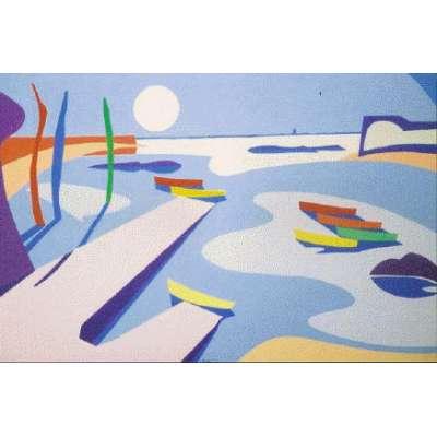 """Derek Crow original gouache painting """"La Rocque Harbour"""""""