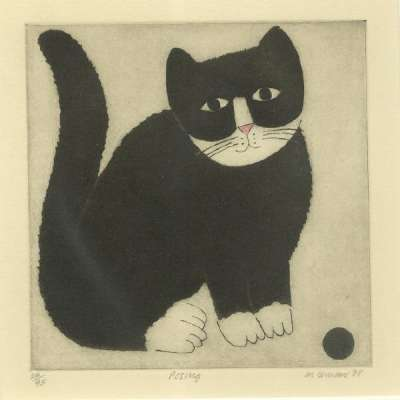 """Martin Leman limited edition etching """"Posing"""""""