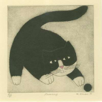 """Martin Leman limited edition etching """"Pouncing"""""""