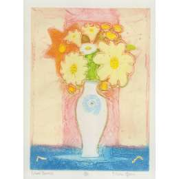 Mark Spain original etching 'Mixed Flowers'