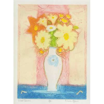 Mark Spain original etching 'Mixed Flowers'