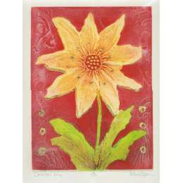 Mark Spain original etching 'Oriental Lily'
