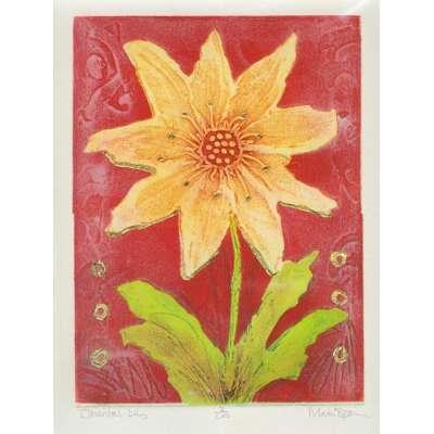 Mark Spain original etching 'Oriental Lily'