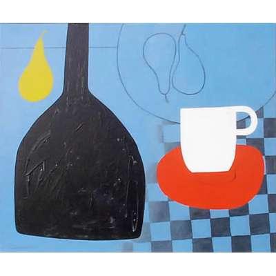 "Geoffrey Robinson Acrylic ""Black Bottle & White Teacup"""