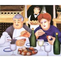 "Beryl Cook limited edition silkscreen ""Escargot pour trois"""