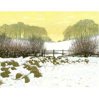 """Kenneth Leech screenprint """"Winter Walk"""""""