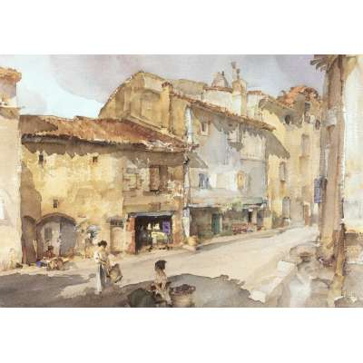 Sir William Russell Flint LE print 'The Street with the Sundial'