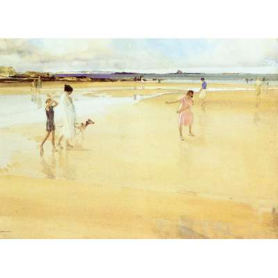 Sir William Russell Flint LE print 'Fun on the Sands, Bamburgh'