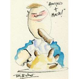 Tim Bulmer original watercolour 'Bangers & Mash!'