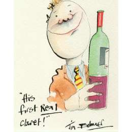 Tim Bulmer original watercolour 'His First Real Claret!'