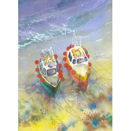 "Richard Plincke RI watercolour ""Fishing Boats"""