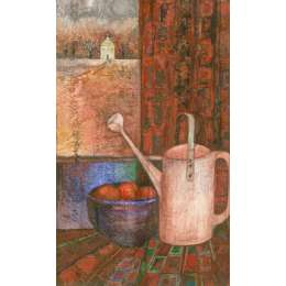 "Delia Cardnell RI original watercolour ""Watering Can"""