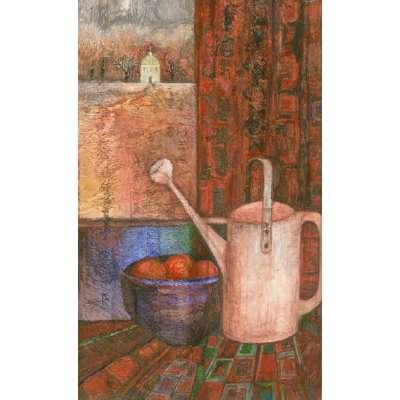 """Delia Cardnell RI original watercolour """"Watering Can"""""""