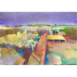 "Richard Plincke RI watercolour ""Derelict Farm Sheds"""