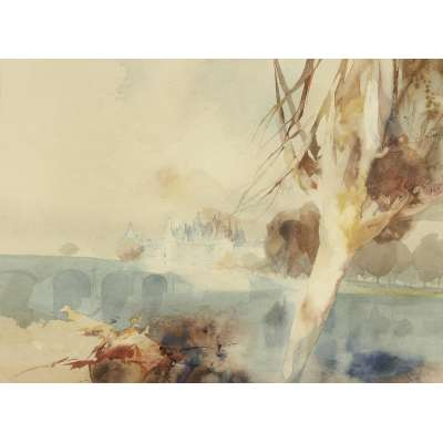 """Frederick Sands water colour """"Chateau Chaumont on the Loire"""""""