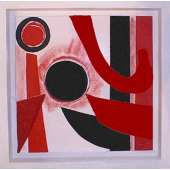 "Sir Terry Frost acrylic & collage ""Red, Black & White"""