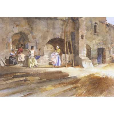 Sir William Russell Flint LE print 'Gossip From The Village'