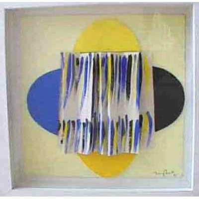 "Sir Terry Frost acrylic & collage ""Yellow in the Middle"""