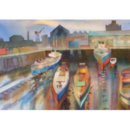"Richard Plincke RI watercolour ""Baltic Dry Dock"""