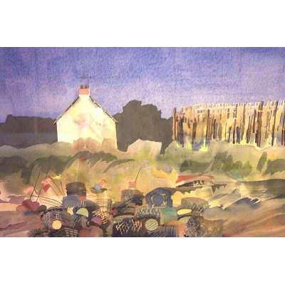 "Richard Plincke RI watercolour ""Lobster Pots"""