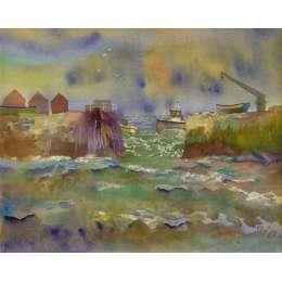 "Richard Plincke RI watercolour ""Waiting for the Tide"""