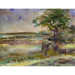 "Richard Plincke RI watercolour ""Behind St Catherine's"""