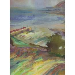 "Richard Plincke RI watercolour ""Rozel harbour from Above"""