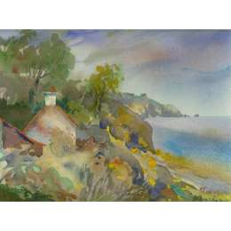 "Richard Plincke RI watercolour ""Cottage at Fliquet"""