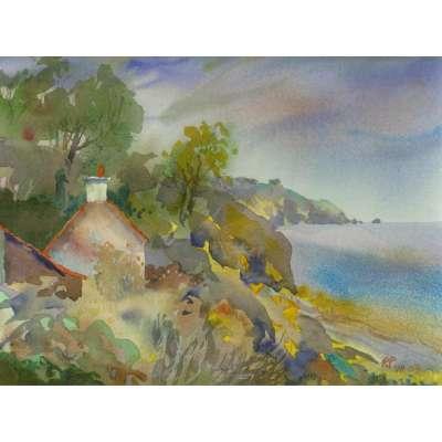 """Richard Plincke RI watercolour """"Cottage at Fliquet"""""""