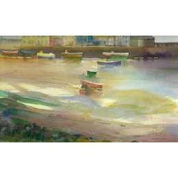 "Richard Plincke RI watercolour ""Low Tide, Gorey Harbour"""