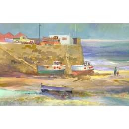 "Richard Plincke RI watercolour ""Boats at Rozel"""
