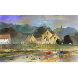 "Richard Plincke RI watercolour ""St Brelade's Church"""