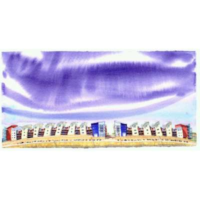 Ian Rolls limited edition giclee print 'Waterfront Housing'