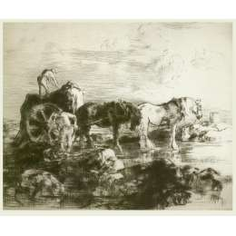Edmund Blampied R.E drypoint etching 'The Vraic Season'