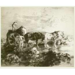 Edmund Blampied R.E drypoint etching 'The Vraic Season'