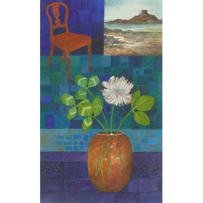 """Delia Cardnell RI original watercolour """"Interior at Portelet"""""""
