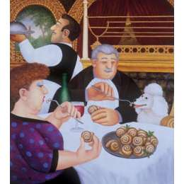 Beryl Cook colour reproduction giclee print 'Dining in Paris'