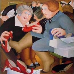 Beryl Cook colour reproduction giclée print 'Shoe Shop'