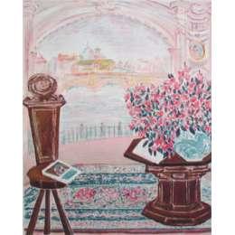 "Renee Halpern silkscreen ""Sur La Saone Interion Tuscan"""