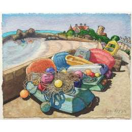 Ian Rolls limited edition giclee print 'Boats & Buoys,La Rocque'