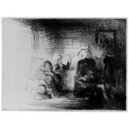 """Edmund Blampied R.E drypoint etching """"Village News"""""""