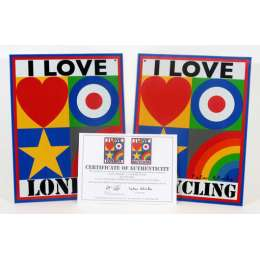 Sir Peter Blake lithographs 'I Love London & I Love Recycling'