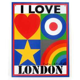 Sir Peter Blake lithograph on tin 'I Love London'